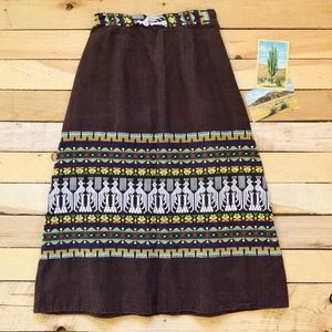 Vintage Guatemalan Embroidered Cotton Maxi Skirt